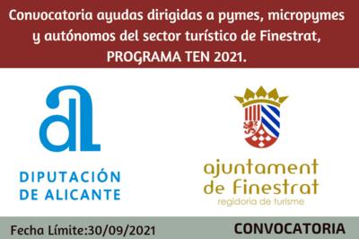 Convocatoria ayudas dirigidas a pymes, micropymes y autónomos del sector turístico de Finestrat, PROGRAMA TEN 2021.