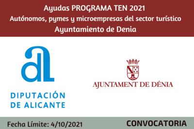 Ayudas profesionales y pequeñas empresas TURISMO TEN 2021. Ayuntamiento de Denia.