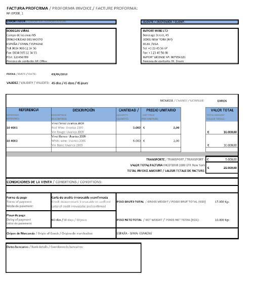 Busaca - imágenes - modelos de factura proforma