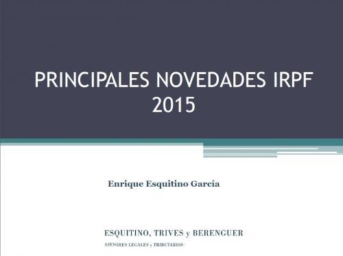 Principales novedades del IRPF 2015