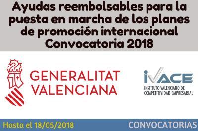 Ayudas reembolsables para la puesta en marcha de los planes de promoción internacional (2018)