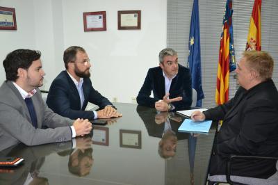 David Caballero y Juan Antonio Sempere, de Ciudadanos, se reúnen con el presidente del CEEI Elche, José Javier García el director, Joaquín Alcázar