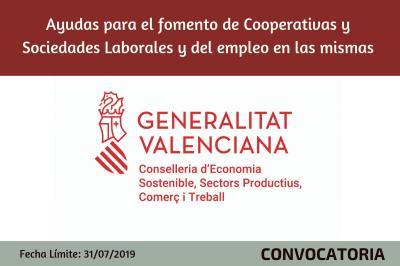 Ayudas para el fomento de Cooperativas y Sociedades Laborales y del empleo en las mismas
