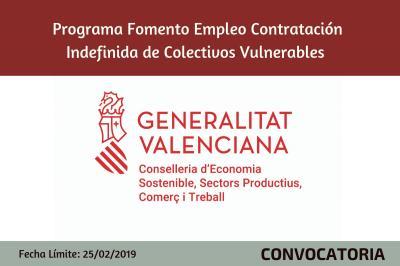 Programa Fomento de Empleo contratación indefinida colectivos vulnerables
