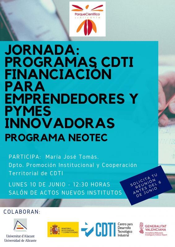 JORNADA CDTI FINANCIACIÓN PYMES Y EMPRENDEDORES 2019 NEOTEC