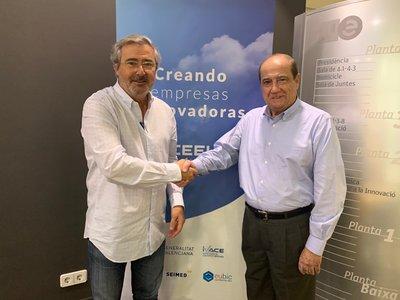 Jesús Casanova, Director del CEEI, y de Marcel Abbad, director general de IMF Oportunitas