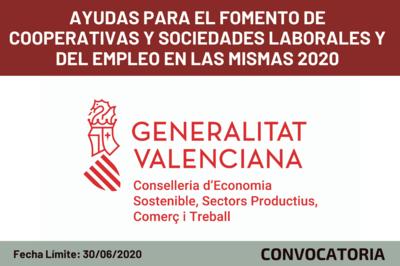 Ayudas para el fomento de Cooperativas y Sociedades Laborales y del empleo en las mismas 2020