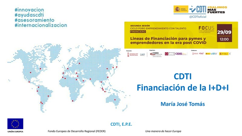 Ponencia de Mª José Tomás de Promoción Institucional y Cooperación Territorial  del CDTI