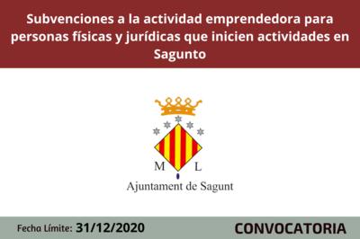Subvencions a la activitat emprenedora para persones físiques y jurídiques que inicien