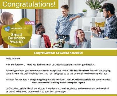 La Ciudad Accesible Emprende y Antonio Tejada se imponen en los '2020 Small Business Awards'