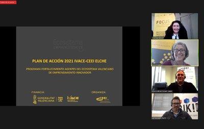 CEEI ELCHE e IVACE presentan a los agentes el programa de acción 2021 para fortalecer el Ecosistema emprendedor
